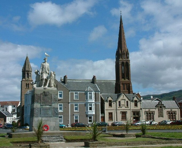 War Memorial and a glimpse of two churches