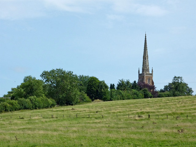 Pasture and church at Braunston in Northamptonshire