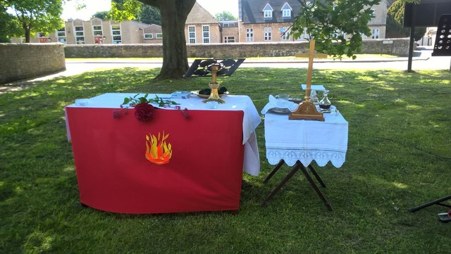 Altar for outdoor communion service at St. Benedict's, Glinton