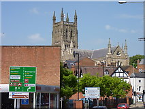 SO8554 : Worcester Cathedral and old roofs by Jeff Gogarty