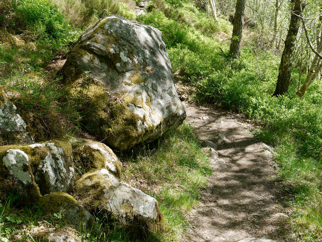 Boulder beside the path to the Dog Falls