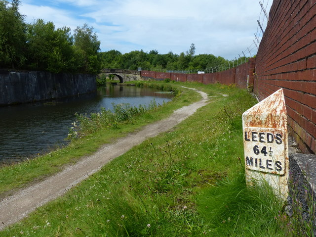 Milepost along the Leeds and Liverpool Canal