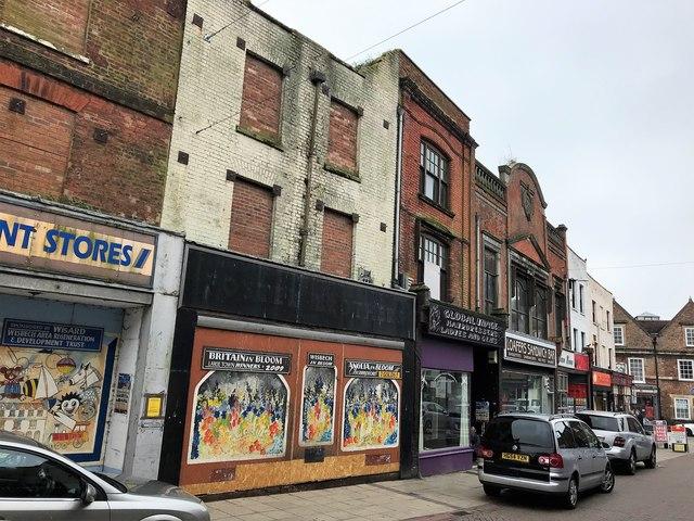 Shops on Wisbech High Street opposite The Gap