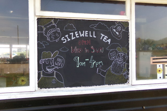 Sizewell Tea sign on Sizewell Beach Refreshment Cafe