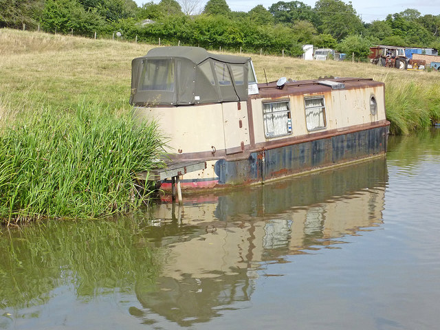Moored narrowboat near Braunston in Northamptonshire