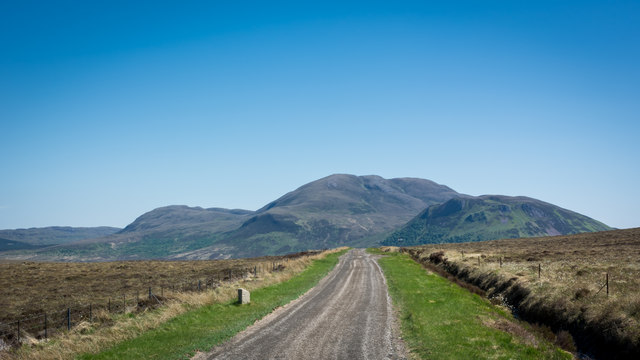 A836 south of Tongue by milestone
