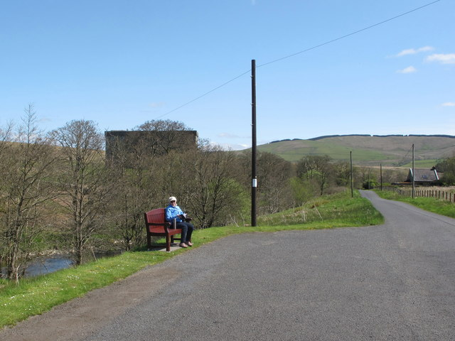 Car park for Hermitage Castle, with bench