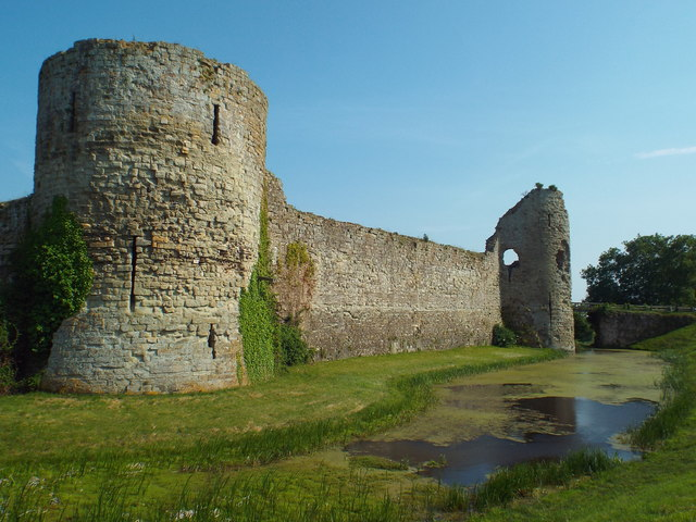 Pevensey Castle and moat