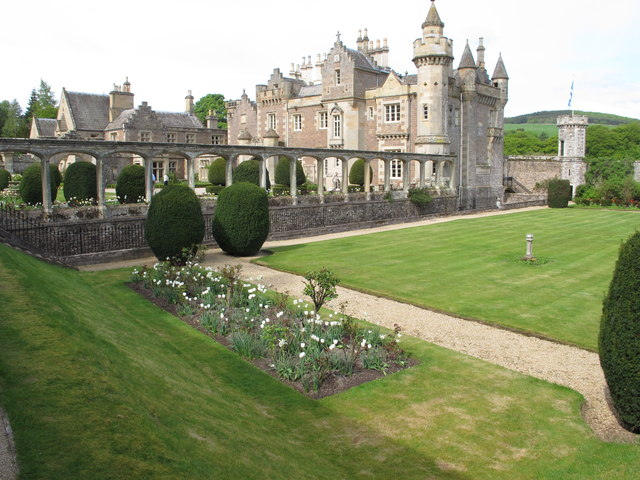 Abbotsford House from walled garden with white tulips