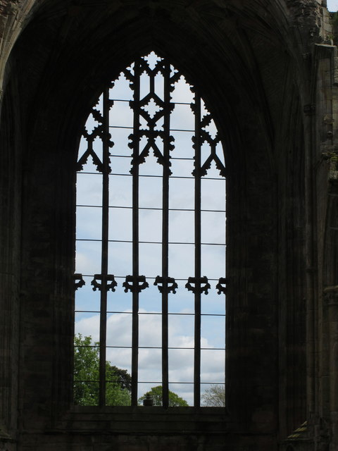 East window stonework, Melrose Abbey