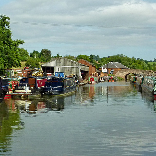 Boatyard and moorings near Braunston in Northamptonshire