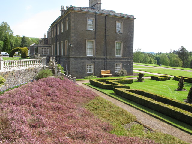 Bowhill, house, lawn, heather bank, topiary