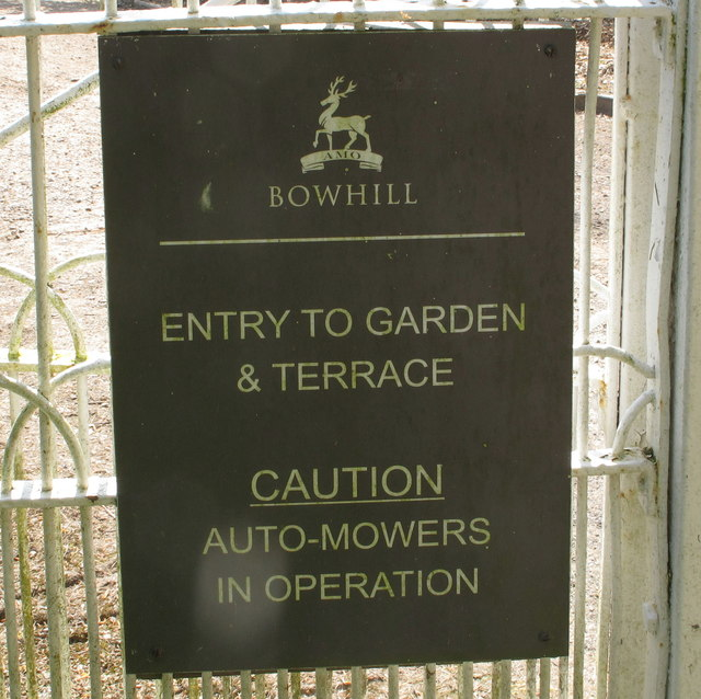 """""""Caution - auto-mowers in operation"""" at Bowhill"""