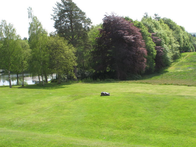 Bowhill loch, trees, lawns - and auto-mower