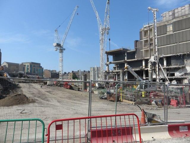 Construction work view from Leith Street, Edinburgh St James