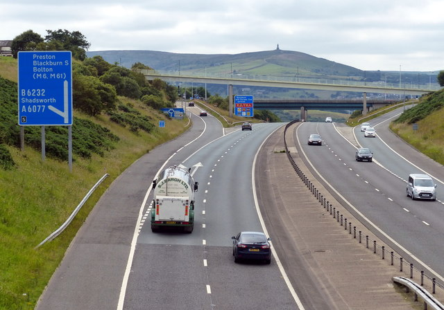 Junction 5 along the M65 motorway