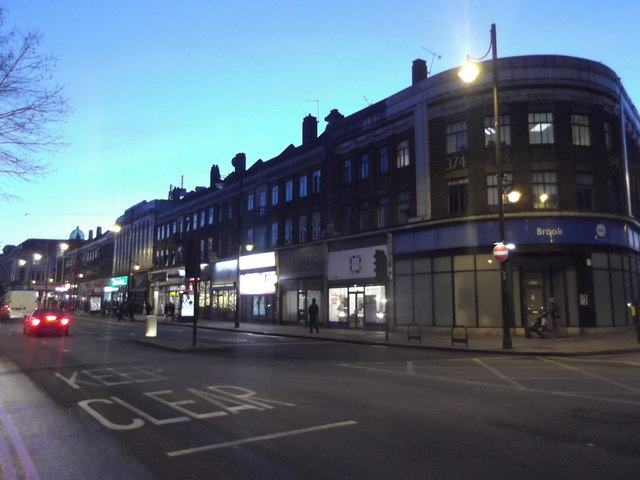 Brixton Road at the junction with Stockwell Park Road SW9