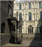 TG2308 : Spiraling steps on the NE corner of the Bishop's Palace by Evelyn Simak