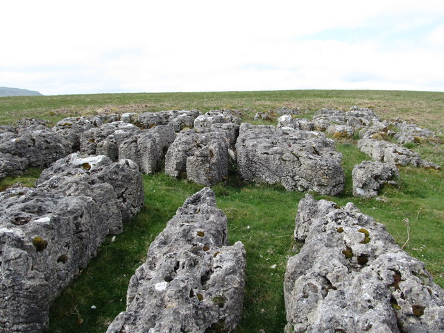 Remnant limestone pavement on Heughscar Hill