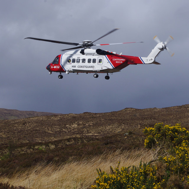 Coastguard helicopter at Sligachan © Ian Taylor :: Geograph