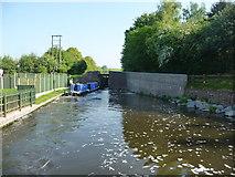 SO8690 : CRT workboat entering Marsh Lock by Christine Johnstone