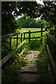 SK3515 : A wooden footbridge, near Mill Farm by Oliver Mills