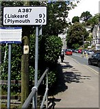 SX2553 : A387 in Looe, 9 miles from Liskeard, 20 from Plymouth by Jaggery