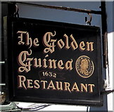SX2553 : Golden Guinea Restaurant name sign, Fore Street, East Looe by Jaggery