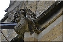 SP0228 : Winchcombe, St. Peter's Church: Grotesque of a man-at-arms 2 (different view) by Michael Garlick