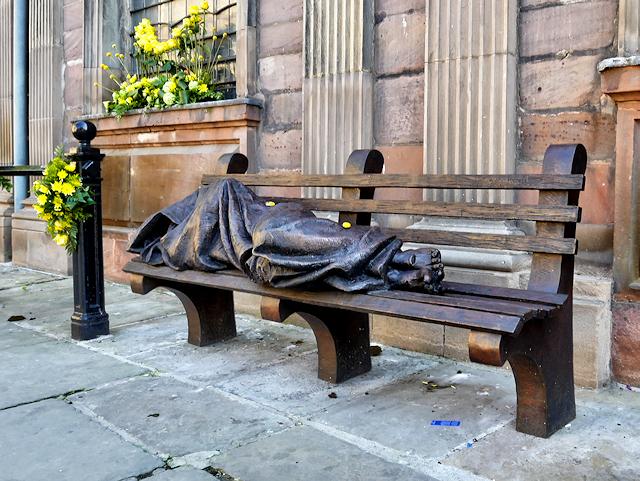 Homeless Jesus outside St Ann's Church