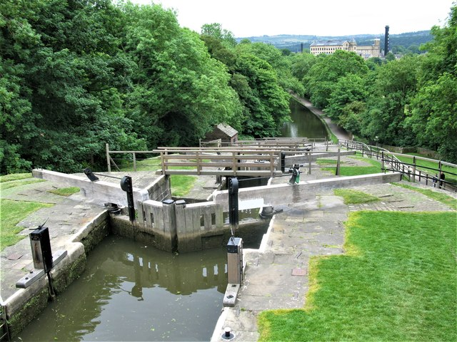 Looking down the Bingley Five Rise Locks, Leeds and Liverpool Canal
