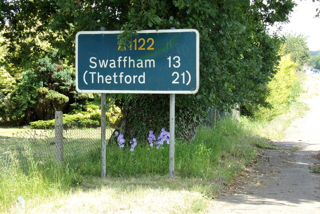 Roadsign on the A1122 Bexwell Road