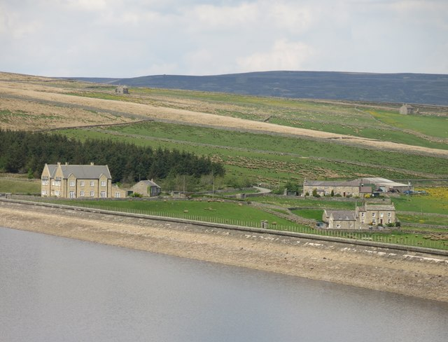 The dam of Burnhope Reservoir