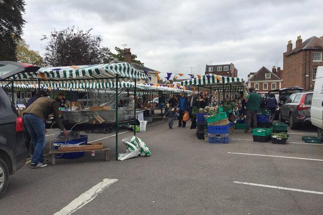 Street market near Tewkesbury Abbey