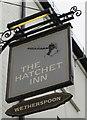 SU4767 : Hatchet Inn name sign, Newbury by Jaggery