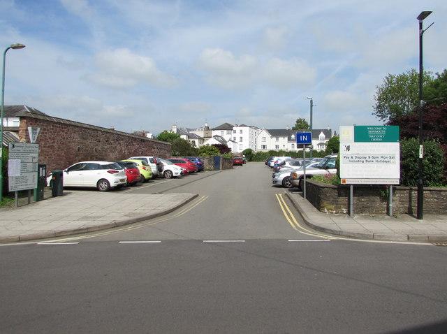 Entrance to Glendower Street Car Park, Monmouth