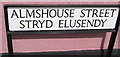 SO5012 : Almshouse Street/Stryd Elusendy name sign, Monmouth by Jaggery