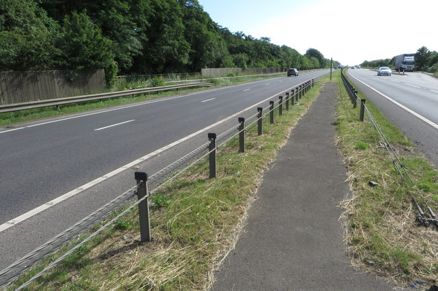 Bridleway crossing the A43