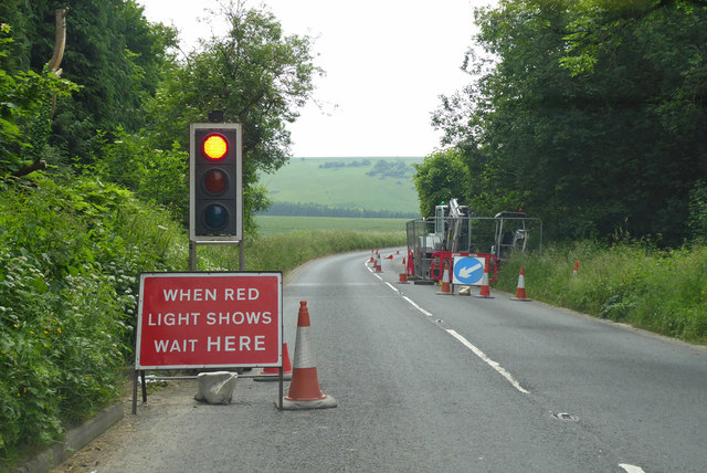 A30 road works, Swallowcliffe