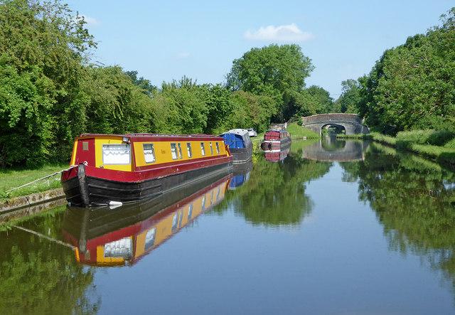 Shropshire Union canal northwest of Brewood, Staffordshire