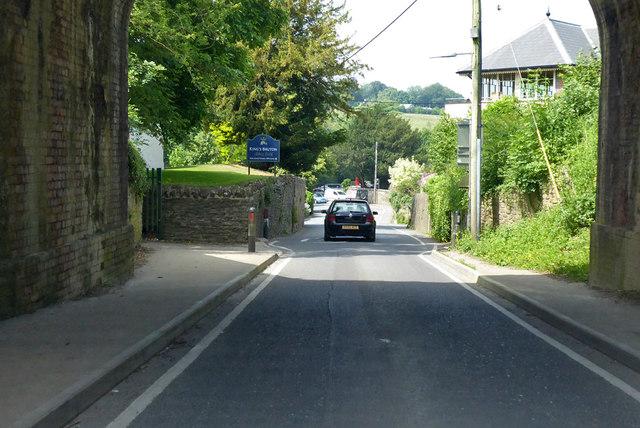 B3081 through the railway bridge, Bruton