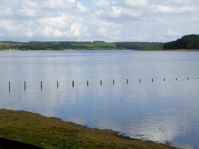 Sunken fence on the Derwent Reservoir