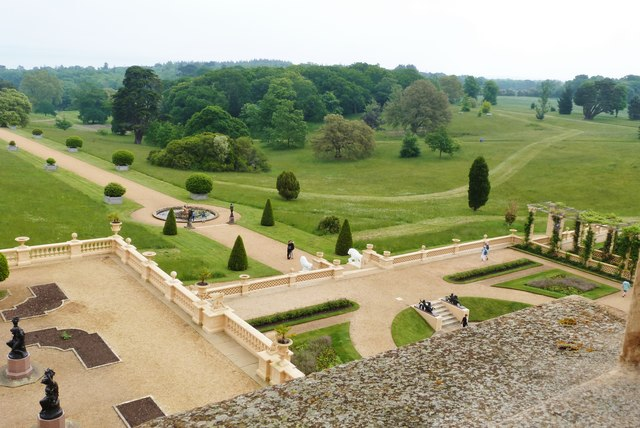 Looking down onto The Terrace from an upstairs window, Osborne House, Isle of Wight