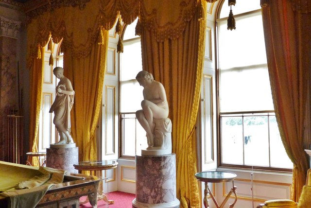 Statuary and curtains in the Billiard Room, Osborne House, Isle of Wight