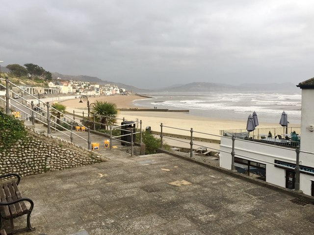 Lyme Regis seashore on a wild November day