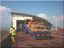 SD4264 : RNLI hovercraft at Morecambe by Karl and Ali