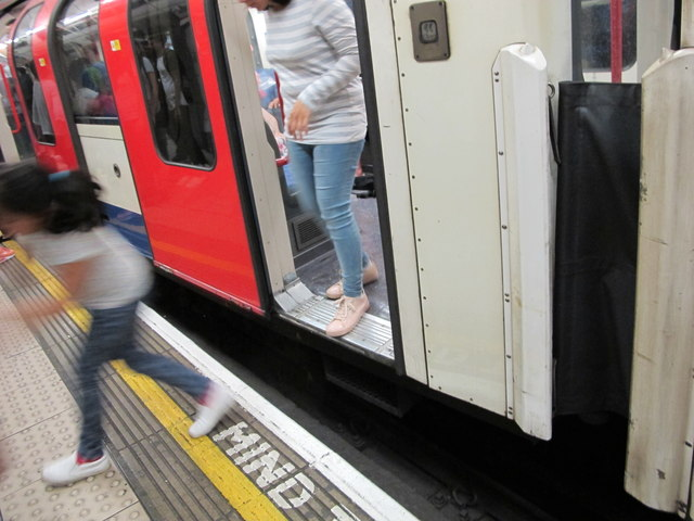 "Passengers have to ""Mind the gap"" at Bank Central Line station"
