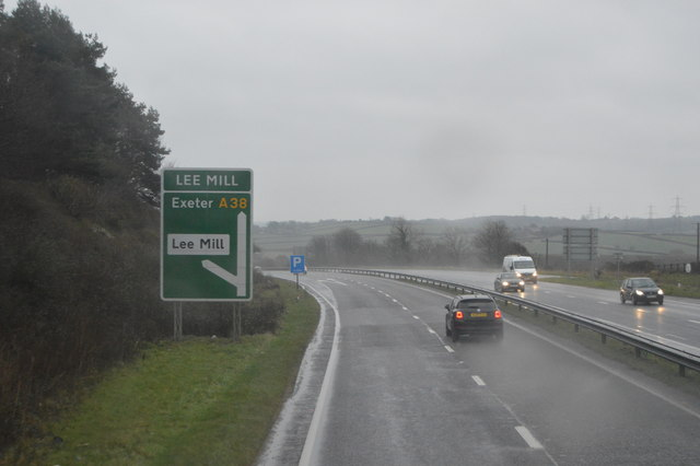 A38 at Lee Mill on a very wet day