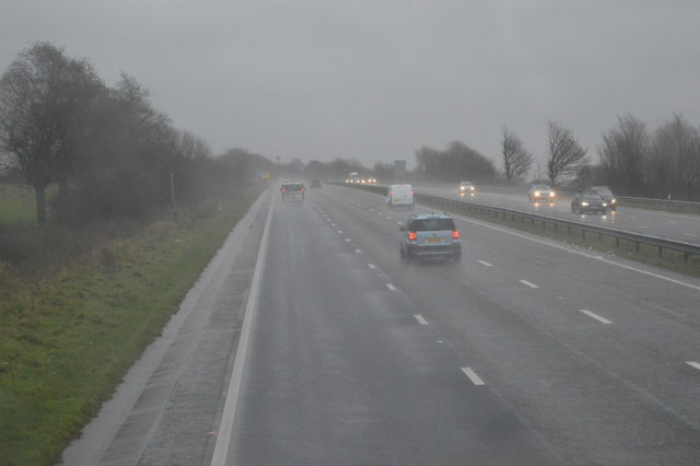 Torrential rain on the A38