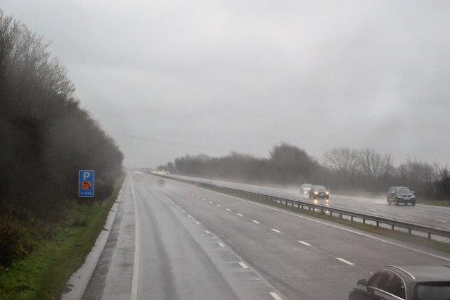 Torrential rain, A38